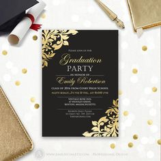 Celebrate Your Grad With These Gorgeous Black And Gold Floral