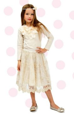 Designer Kidz Angelique Skirt - $39.95 - Stunning, vintage inspired Angelique embroidered skirt by Designer Kidz!  Beautiful skirt is fully lined and features elastisized waist - pair with the Angelique long sleeve girls top for a truly gorgeous outfit that is perfect for everything from weddings to garden parties! #littlebooteek #girls #fashion #designerkidz