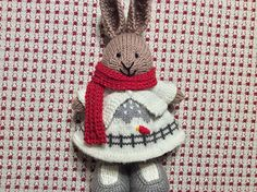 Saw the Drifty Hat pattern by Mandy Powers a year ago and just knew it would be an adorable wintertime bunny dress. The glimmer yarn gives it a snowy twinkle. I used a cast on of 96 stitches and f...