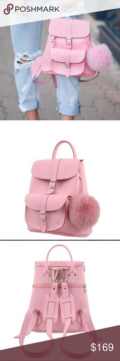 Grafea leather backpack in pink with pompom Grafea leather backpack in pink with a faux fur pompom Grafea Bags Backpacks