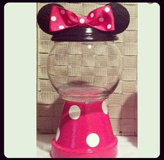 Minnie Mouse Inspired Candy Jar by GCraftyHands on Etsy