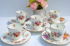 Vintage Mismatched Demitasse Small tea cups and saucers ,English Tea Cups Set of 5:  Princess Birthday, Tea Party, Bridal Shower, Favor.