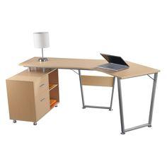 realspace brent dog leg desk oak item 761635 dog legoffice depotindustrial