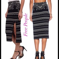 """Free People Black Irreplaceable Sweater Skirt Free People Nordic Jacquard Damask Black Irreplaceable Pencil Sweater Skirt.  SIZE: XS Originally $128.00 Soft stretch black & white sweater knit pencil skirt High slit on left side. Nordic design with a floral top that flows into stripes hidden elastic waist band - medium stretch.    47% Rayon, 28% Nylon, 24% Cotton, 1% Spandex.  Hand wash Waist: 12 1/2"""" across the front, stretches to 14""""+ Hips: 15"""" across the front, stretches to 18"""" Length: 30""""…"""