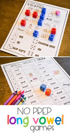 These fun long vowel activities are great phonics practice for students in kindergarten, first and second grade! There are a ton of print and play phonics games that have students practicing silent e and words with different vowel teams. All you need for each game are some dice and crayons!