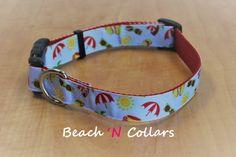 Fun Umbrella, Sunshine and Flip-Flop Dog Collar by Beachcollars on Etsy
