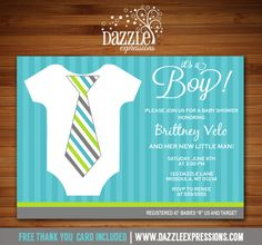 Printable Little Man Onesie with Tie Baby Shower Invitation | Gentleman Shower | Baby Boy | DIY | Digital File | FREE thank you card | Matching Printable Party Package Available |  Banner | Cupcake Toppers | Favor Tag | Food and Drink Labels | Signs |  Candy Bar Wrapper | www.dazzleexpressions.com