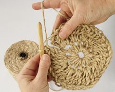 Have you noticed that natural jute decor is bang on trend right now? In this tutorial, you'll learn how to crochet the rounds and create a stunning contrast between the natural jute and metallic. Crochet Round, Love Crochet, Jute, Crochet Stitches, Crochet Patterns, Crochet Baby Blanket Free Pattern, Wall Hanging Crafts, Weaving Art, Knitting Yarn