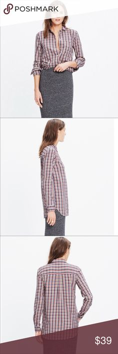 Madewell flannel button-down shirt -size medium Madewell flannel boyfriend slim shirt Size medium A longer, leaner, ready-to-wear version of our favorite tomboy button-down shirt. An easy shape in super soft plaid flannel.  100% cotton  Machine wash Excellent condition. Madewell Tops Button Down Shirts