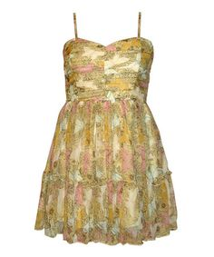 Another great find on #zulily! Gold Floral Disco Dress by Mismash #zulilyfinds