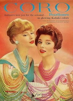 1959 beads in all colors of the 50s- turquoise, pink, yellow, jade green and lavender