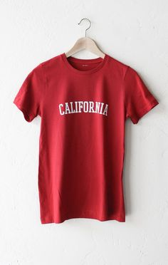 - Description Details: Super soft, relaxed fit organic women's short sleeve t-shirt in red with print featuring 'California'. Women's Fit/Relaxed. Brand: NYCT Clothing. Measurements: (Size Guide) S: 3