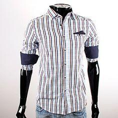 CUBFACE Men's Blue Long Sleeve Check Leisure Fit Shirt