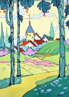 Storybook Cottage Series Castle Keep print from original Art