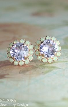 Lilac and mint crystal earrings | mint and violet crystal earrings | purple and mint wedding | www.endorajewellery.etsy.com. Loooove them so much