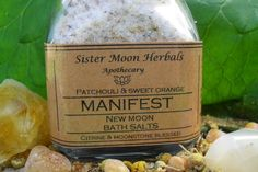 Healing Bath Salts Patchouli Sweet Orange by SisterMoonHerbals Pink Salt Benefits, New Moon Phase, Frankincense Resin, Female Reproductive System, Deep Relaxation, Creative Visualization, Skin Problems, Bath Salts, Glass Jars