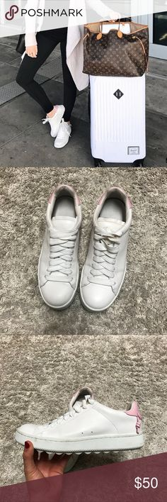 Coach Sneakers cute pink detail on the back! super comfy & chic :) look great with jeans &/or leggings! Coach Shoes Sneakers