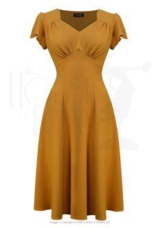 Style Betty Tea Dance Dress in Mustard Crepe 1940s Outfits, 1940s Dresses, Vintage Style Dresses, Vintage Outfits, 1940s Fashion Dresses, Vintage Clothing, 1940s Fashion Women, Vintage Fashion, 1940s Tea Dress