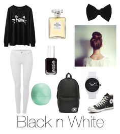 """At school"" by mary-mara on Polyvore featuring 7 For All Mankind, Converse, Eos, Essie, Chanel, Nixon and claire's"
