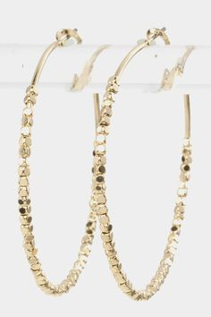 GORGEOUS BEADED HOOP EARRINGS (Gold Tone) - $15