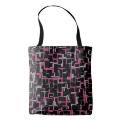 Digital Camo Black Magenta Gray Pattern Tote Bag - pattern sample design template diy cyo customize