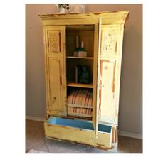 Reclaimed Wood Rustic Armoire with Full Body Mirror. Linen Closet. Shabby Chic Storage Cabinet.