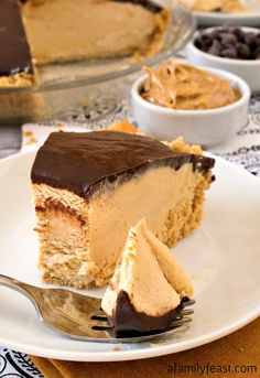 Chocolate Peanut Butter Pie - A luscious peanut butter pie with a sweet graham cracker crust and a chocolate ganache topping.