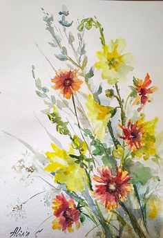Bouquet of wildflowers, red yellow flowers original watercolor hand painting, floral artwork, wall art, fine art blooms field flowers