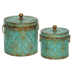 2-Piece Elise Canister Set Display these metal canisters on a mirrored tray for antique-chic appeal, or use them to store mementos and keepsakes in your home office.