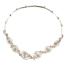 Remarkable Edwardian Diamond Platinum Swirl Necklace/Bracelet | 1stdibs.com