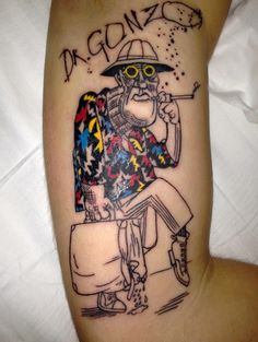 Ralph Steadman's drawing of Dr. Gonzo from Fear and Loathing in Las Vegas. Done by Ivan Hess at Vermont Custom Tattoo in Burlington, VT