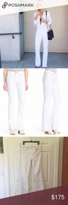 """rag & bone Beach Bell Jeans You'll have legs for days in these figure-flattering high-rise jeans cut slim through the thigh before flaring out into a retro-chic bell-bottom silhouette below the knee. Casual frayed cuffs finish this pristine white style, which you'll reach for time and time again for your favorite warm-weather looks.  •Size 26; true to size  •33""""  inseam; 10"""" front rise; 13"""" waist laying flat  •New with tag  •NO TRADES/HOLDS rag & bone Jeans Flare & Wide Leg"""