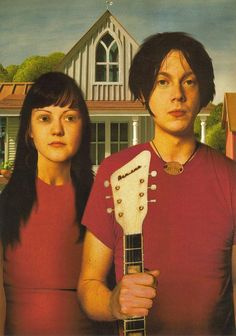 """The White Stripes as American Gothic by Jonathan Burton. This print was included as an insert with the """"Elephant"""" album. Photographed by Rory Cubel. Anthony White, Walter White, Meg White, Jack White, American Gothic, The White Stripes, Judas Priest, Black Sabbath, Travel Design"""