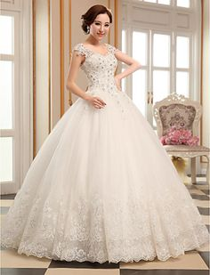 Ball Gown V-neck Floor-length Tulle Wedding Dress (HS408) - USD $ 149.99