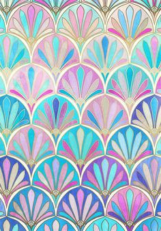 Glamorous Twenties Art Deco Pastel Pattern Art Print by Micklyn