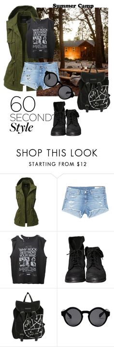 """""""60-Second Style: Summer Camp"""" by menoly ❤ liked on Polyvore featuring LE3NO, rag & bone/JEAN, R13, Zara, Hot Topic, Monki, summercamp and 60secondstyle"""