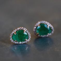14kt gold and diamond free form emerald studs
