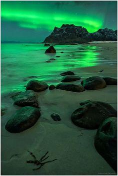 Northern Lights On The Beach, Uttakleiv, Lofoten, Norway                                                                                                                                                     Plus