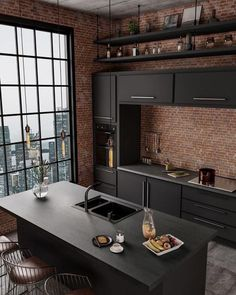 Interior Decorating Styles 64835 how to decorate a small open industrial style kitchen, kitchen furniture in matt anthracite gray, lighting filament bulbs Funky Kitchen, Kitchen Decor, Kitchen Ideas, Kitchen Furniture, Diy Kitchen, Loft Kitchen, Kitchen Black, Modern Furniture, Sweet Home