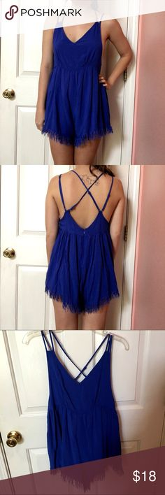 """Blue Boutique Romper Beautiful blue colored romper from the Boutique """"Dainty Hooligan"""". Never worn (except for picture) and the straps are adjustable! It is a size small and could fit an XS also. Dainty Hooligan Other"""