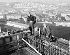 Construction of Dougrie Flats, Castlemilk, Glasgow - Winter 1962-63