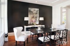 Black and White Dining Room - Contemporary - dining room - Jessica Glynn Gray Painted Walls, Dark Grey Walls, Black Walls, Grey Paint, Living Room Small, Grey Walls Living Room, Black And White Dining Room, White Rooms, Dining Room Design
