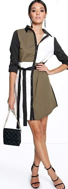 Caroline Colour Block Shirt Dress - Dresses  - Street Style, Fashion Looks And Outfit Ideas For Spring And Summer 2017