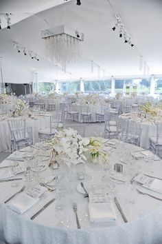 All white tent wedding! Love the all white...needs chandeliers and touches of blush and maybe a silver or gold sparkle table runner