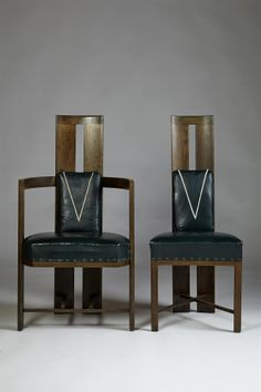 Set of dining chairs, designed by Eliel Saarinen for Keirkner residence, Helsinki. 1907. - Modernity, Stockholm