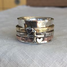Personalized Family Spinner Ring Customizable Mothers Ring by ShesSoWitte by ShesSoWitte on Etsy https://www.etsy.com/listing/225255046/personalized-family-spinner-ring