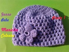 Crochet Tutorial Gorro Bebe Lila (Parte Puff Stitch - Subtitles in English Crochet Baby Hat Patterns, Crochet Baby Beanie, Crochet Hat For Women, Crochet Cap, Love Crochet, Crochet For Kids, Knitting Patterns, Crochet Videos, Crochet Projects