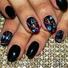 #aztecnails #pattern #nails #black, justusgy