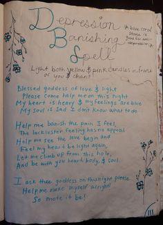 Kelsey's Craft Corner: Spell book pages from my DIY spell book: Depression Banishing Spell Grimoire Book, Magick Book, Magick Spells, Witchcraft, Finding Feathers, Sleep Spell, Banishing Spell, Revenge Spells, Moon Spells