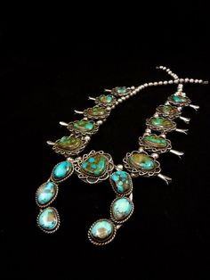 209g Vintage Navajo Sterling Silver Squash Blossom Necklace w High Grade Royston Turquoise! Fabulous Colors in A Time-Honored Classic!
